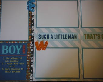 2 BOY Such a Little Man 12x12 Premade Scrapbook Pages for your family