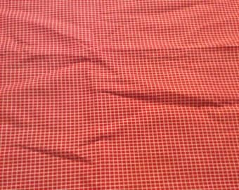 2 Yards of Vintage Red and White Check Cotton Blend Fabric