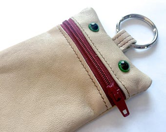 Recycled Leather Keychain - Monster Pouch, Change Purse, Wallet, Chocolate brown, wine red