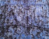 African Batik Fabric, Blue and Purple Batik, Hand-dyed fabric, Tie Dye Fabric, Nigerian Adire, 2.4 Yards, Handmade fabric, Abstract pattern