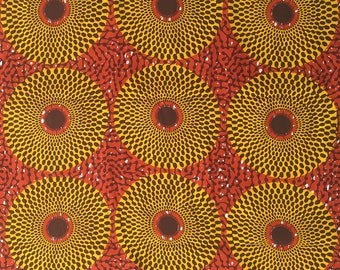 Ankara fabric by the Yard, Circle Ankara Fabric, Orange and Yellow fabric, African wax print, Circle print fabric, 100% cotton, GTP fabric
