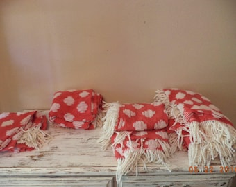 Vintage red cotton with white chenille fabric cutter fabric pieces, 3 large pieces red chenille fabric, vintage chenille bedspread
