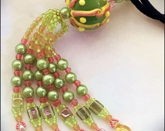 Lampwork Glass Focal Bead and Fringe Springtime Tassel Pendant - Beaded Fringed Necklace by Hannah Rosner