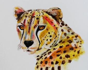 Cheetah Portrait, Cheetah, Cheetah Painting, Cheetah Art, Nursery Art, Animal Art, Cat Art, Nursery Animal Art, Nursery Cheetah