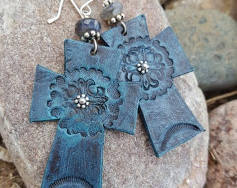 Cross Earrings  - Leather - Hand Painted Distressed Leather - Labradorite Earrings - Western Jewelry - Cowgirl Jewelry by Heart of a Cowgirl