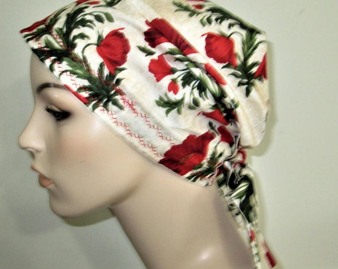 Featured listing image: Scrub Cap  Chemo Hat Red Floral, Cancer Hat, Hijab, Alopecia Turban  Nurses Hat