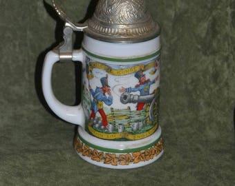Vintage BMF Milk Glass Lidded Bierseidel Beer Stein Cannon Soldiers West Germany
