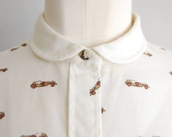 vintage 70s blouse peter pan collar tomboy style preppy secretary ecru minimalist gift for tomboy long sleeves 1920s womens clothing
