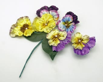 Vintage Pansy Pick Wedding Bouquet Flower Pick Corsage Millinery