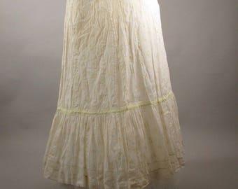 Antique Victorian 1880s Floral Cotton skirt