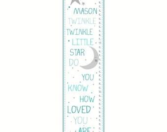 Boy Growth Chart - Canvas Growth Chart, Twinkle Twinkle Little Star, Blue Growth Chart, Boy's Room, Nursery Decor