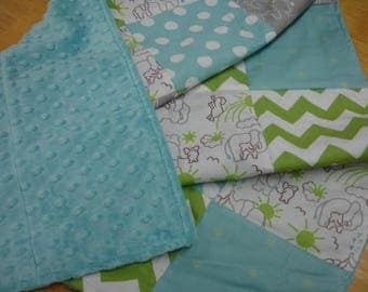 Elephants You Are My Sunshine in Green With  Bits of Sunshine in Aqua  Minky Baby Blanket 32 x 38 READY TO SHIP