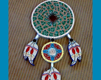 DreamCatcher Mixed Media Mosaic Native American Inspired Gift Under 100 Dollars