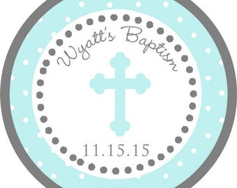 DIY Printable File- Teal Baptism Cross Thank You Stickers, Tags, Labels- AVERY LABEL 22807