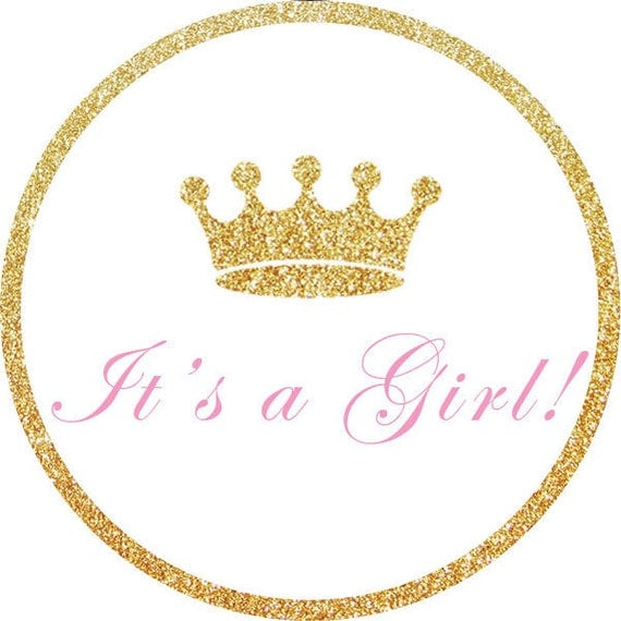 Personalized It's a Girl Gold Glitter Pink Crown Baby