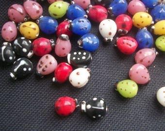 10 Ladybug Ladybird Glass Beads