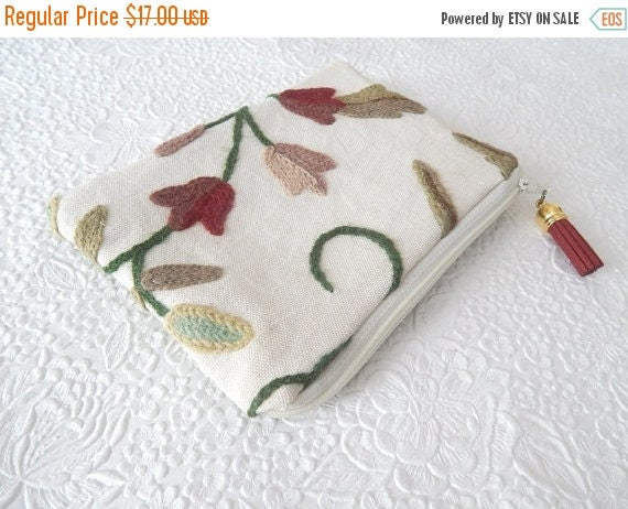 Clearance floral red crewel embroidery pouches wool