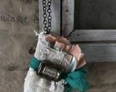 Handmade heart mini book ornament
