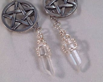 Clear Quartz crystals with pentagram charms, earrings