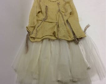Raw Loose Weave Butter colored Tattered  Distressed Sheer Sweater