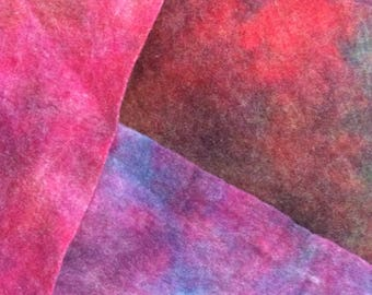 Bundle of 3 hand dyed felt pieces, Shades of Blue, Purple and Light Reds