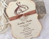 Bridal Shower Invitations Dress Printed Invite Set of 10
