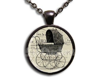 25% OFF - Vintage Baby Carriage - Round Glass Dome Pendant or with Necklace by IMCreations -  VT104