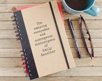 Cadeau de Graduation de l'école secondaire, Journal de voyage, Journal personnalisé, cadeau ami, cahier à spirale, l'écriture de Journal, personnalisé cadeau AE1