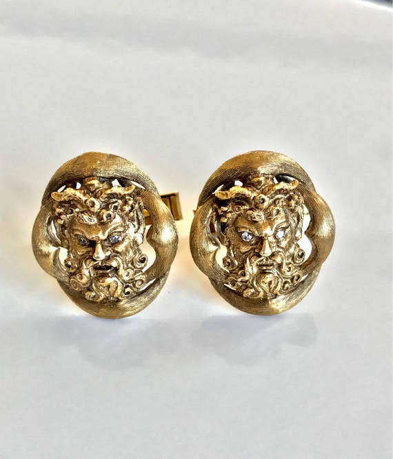 14K Gold and Diamond Bacchus Cufflinks and Tie Tack Set 585 Gold (32 grams) by Wallach