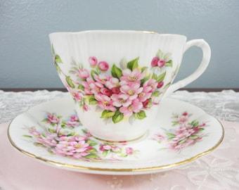 Royal Albert Apple Blossom English Bone China Teacup and Saucer