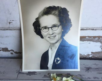 Vintage Photograph 8 x 10 Happy Lady with Cateye Glasses