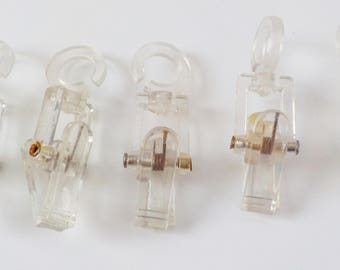 Vintage Hanging Clips • Hanging Display Clips • Clear Plastic Swiveling Hang Clips