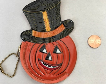 Vintage Halloween Jack O Lantern Coin Purse, Old Stock, Barton's Candy, Pumpkin