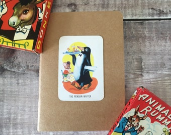 Penguin Notebook with vintage playing card cover A6 size