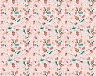 SALE Penny Rose Fabrics Bunnies and Blossoms Strawberries Pink