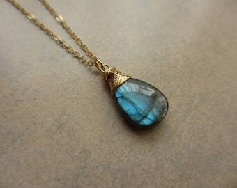 Blue Labradorite Necklace, Blue Green, Gold, Aqua, Wire Wrapped, Large, Pendant, Irisjewelrydesign
