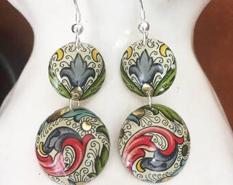 Recycled Tin Jewelry.  Double hanging psychadelic baubles made from vintage recycled tin.  Sterling Silver.