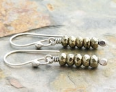 Pyrite Earrings, Pyrite Jewelry, Yellow Bronze Color Earrings, Gemstone Dangle Earrings, Sterling Silver #4915