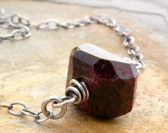 Garnet Birthstone Jewelry, Rough Garnet Necklace, January Birthstone, Raw Gemstone, Garnet Jewelry, Sterling Silver, #4780