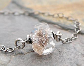 Minimalist Quartz Necklace, Herkimer Diamond, Sterling Silver, April Birthstone Necklace, Herkimer Jewelry, Herkimer Quartz, #4828