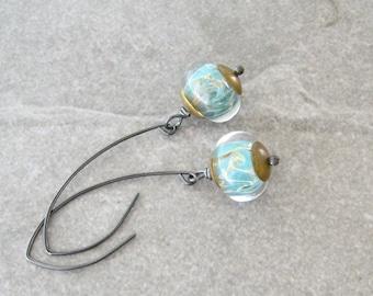 aqua dangle earrings, rustic silver and lampwork glass dangle earrings