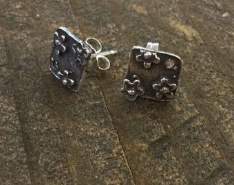 Earring Components Flower Sterling Silver Artisan ONE PAIR