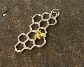 Honeycomb Pendant with Bee Charm