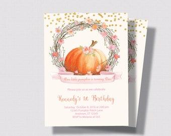PUMPKIN FIRST BIRTHDAY Invitation Blush Pink and Gold Glitter Invitation   Little Pumpkin First Second Birthday   Autumn Girls Birthday