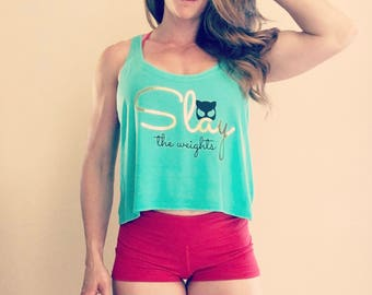 Slay The Weights Motivational Fitness Crop Top in Turquoise & Gold Foil