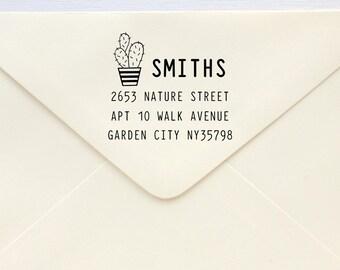 Custom Rubber Stamp - Custom Address Stamp - Return Address Stamp - Personalised Address Stamp - Gift - Potted Cactus 2