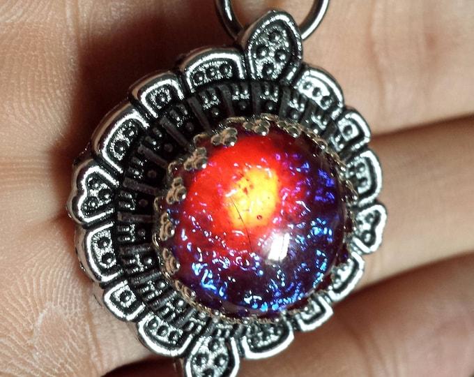 Steampunk Jewelry - Pendant - Dragon's Breath fire opal glass