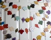 New Large Leaf Garland ...9 Ft of Leaves and Acorns..Fall photo prop..removeable gift tag...Thanksgiving...fall decor...fabulous colors