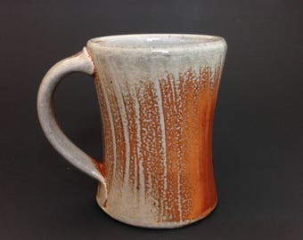 Coffee Mug - Tea Mug - Finger Swipe Pattern - Soda Glazed Wheel Thrown Stoneware Pottery