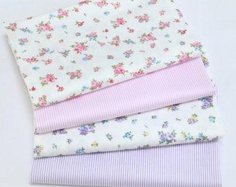 4715 - Rose Bud & Stripe Cotton Fabric - 62 Inch (Width) x 1/2 Yard (Length)